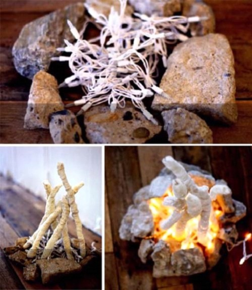 Как сделать имитацию огня в камине своими 552
